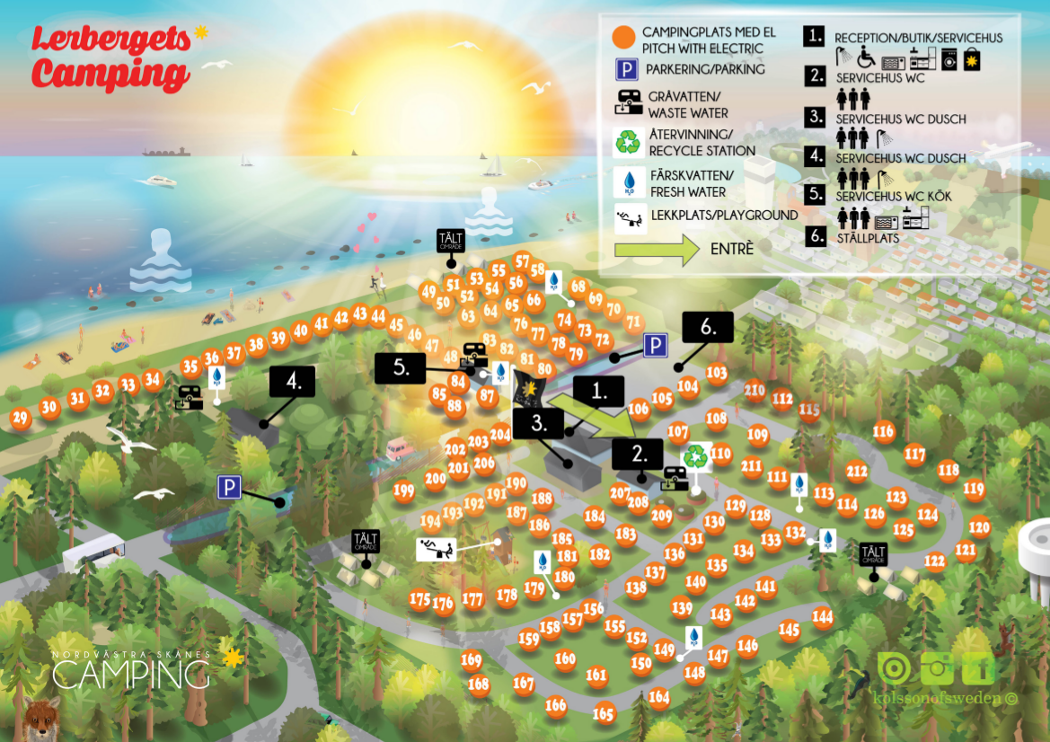 Karta Camping Skane.Lerbergets Camping Camping I Lerberget Hoganas Skane